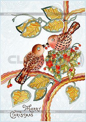Ozdobny rocznika kartka świąteczna z ptaków | Klipart wektorowy |ID 3101599