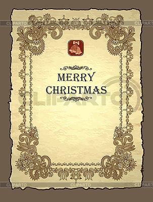 Богато-украшенное рождественское приглашение | Векторный клипарт |ID 3101629