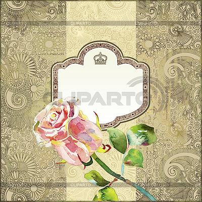 Ozdobny kwiatowy wzór z różowym akwareli wzrosła | Stockowa ilustracja wysokiej rozdzielczości |ID 3273589