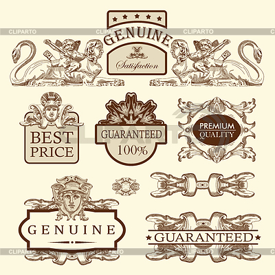 Ozdobny najwyższej jakości etykiet i gwarancji | Klipart wektorowy |ID 3294935