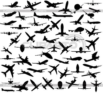 Sylwetki samolotów | Klipart wektorowy |ID 3093748