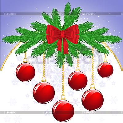 Красная новогодняя открытка с шарами | Векторный клипарт |ID 3094225