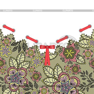 Kwiat pocztówka z czerwoną kokardką | Klipart wektorowy |ID 3099657