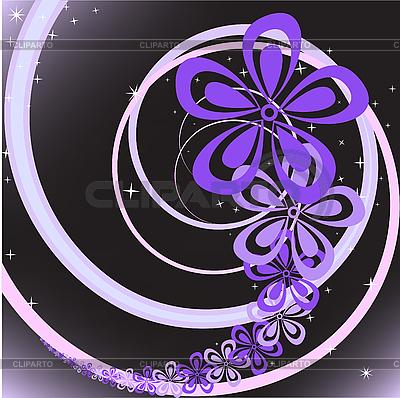 abstrakten schwarzen hintergrund mit lila blumen strudel stock vektorgrafik cliparto. Black Bedroom Furniture Sets. Home Design Ideas