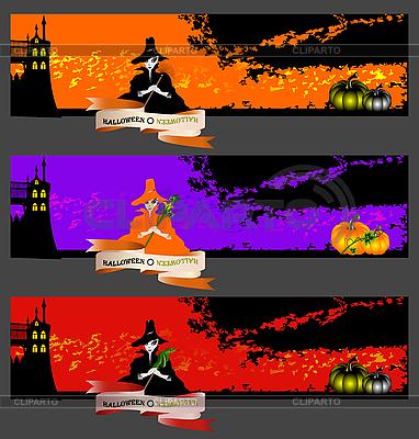 Halloween banery z czarownicami | Klipart wektorowy |ID 3124507