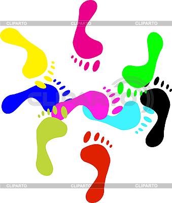 Цвет отпечатки ног на белую