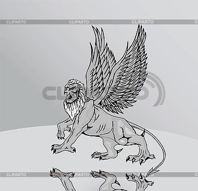 Große mythologische Griffin mit Spiegel Reflexion seiner paws.V | Stock Vektorgrafik |ID 3146865