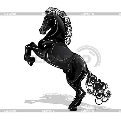 Czarny koń | Klipart wektorowy |ID 3095981
