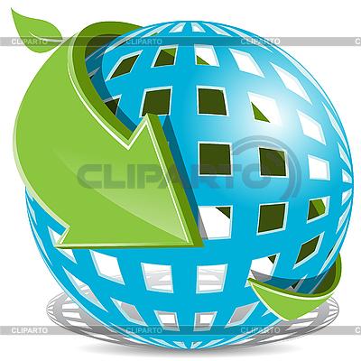 Erdkugel und grüner Pfeil | Stock Vektorgrafik |ID 3095995