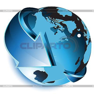 Erdkugel und blauer Pfeil | Stock Vektorgrafik |ID 3096025