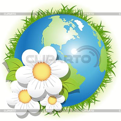 Blauer Planet und weiße Blumen | Stock Vektorgrafik |ID 3096037