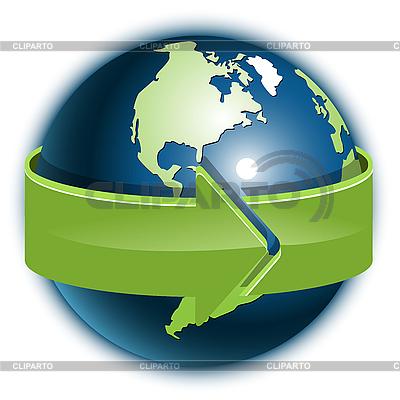 Globus i zielona strzałka | Klipart wektorowy |ID 3096848