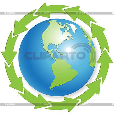 Erdkugel und grüne Pfeile | Stock Vektorgrafik |ID 3096852