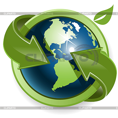 세계 및 녹색 화살표 | 벡터 클립 아트 |ID 3096854