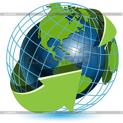 Globus i zielone strzałki | Klipart wektorowy |ID 3096856