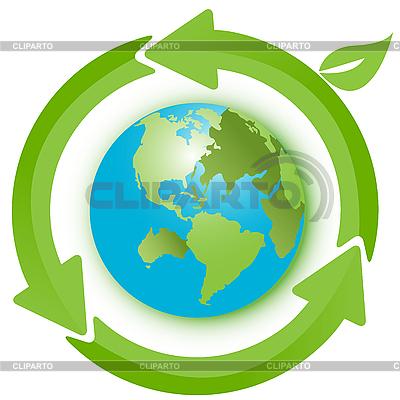 Erdkugel und grüne Pfeile | Stock Vektorgrafik |ID 3099566