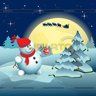 Снеговик и новогодняя елка | Векторный клипарт |ID 3103647