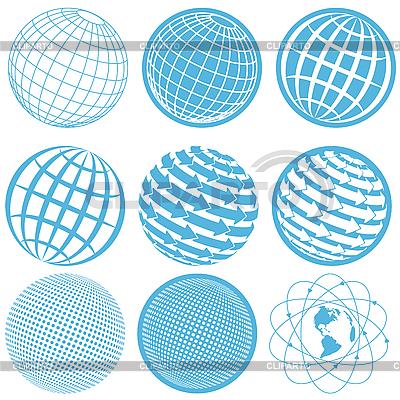 Icons mit Erdkugel | Stock Vektorgrafik |ID 3131113