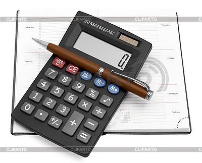 Kalkulator z długopisem w notesie | Foto stockowe wysokiej rozdzielczości |ID 3099373