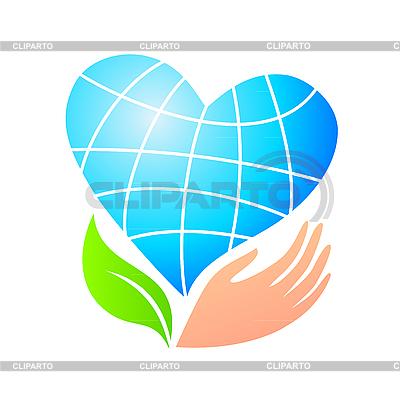 Ziemia jako stylizowane serca i ręki | Klipart wektorowy |ID 3099197