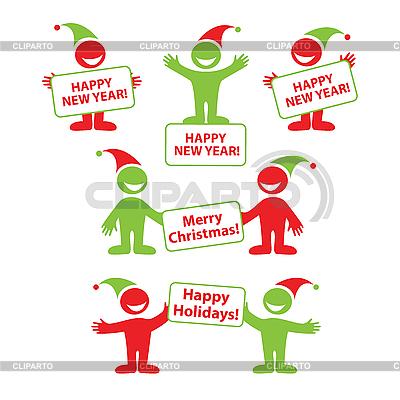Neujahrs Set von Cartoon Menschen | Stock Vektorgrafik |ID 3099211