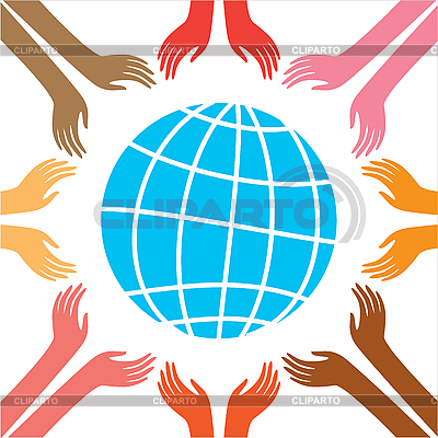 Znak pokoju - Globus i ręce | Klipart wektorowy |ID 3099219