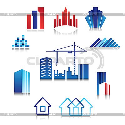 Icons von Gebäuden | Stock Vektorgrafik |ID 3103297