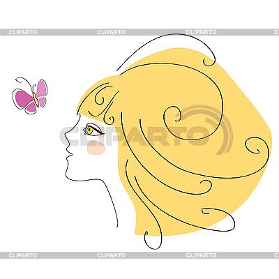 Mädchen und Schmetterling | Stock Vektorgrafik |ID 3103328