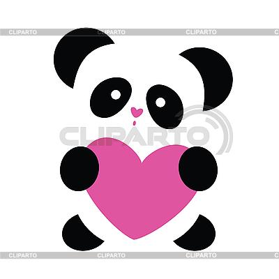 Панда с сердечком | Векторный клипарт |ID 3103408