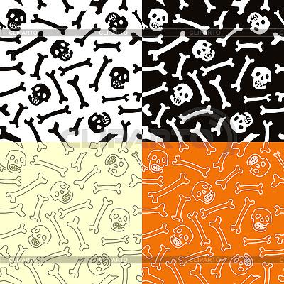 Nahtloser Hintergrund mit Schädeln und Knochen | Stock Vektorgrafik |ID 3100067