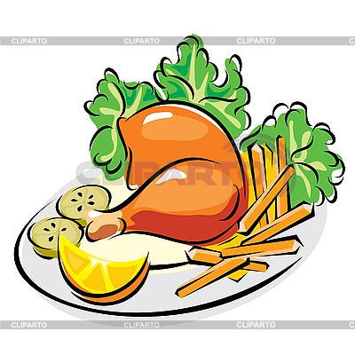 Pieczony kurczak | Klipart wektorowy |ID 3108484