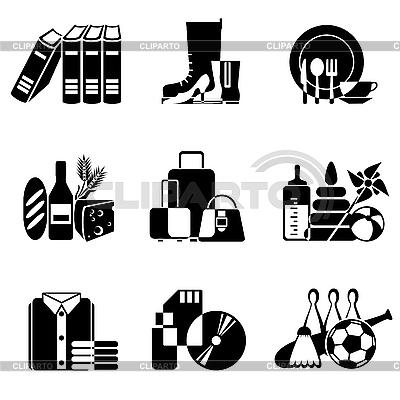 Иконки товаров и изделий в супермаркете | Векторный клипарт |ID 3108881