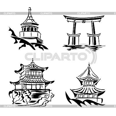 Set von asiatischen Tempeln | Stock Vektorgrafik |ID 3108887