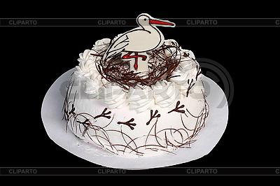 Biały tort z bocianem | Foto stockowe wysokiej rozdzielczości |ID 3112039