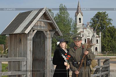 Retro-Stil Bild mit Frau und Soldat | Foto mit hoher Auflösung |ID 3125008