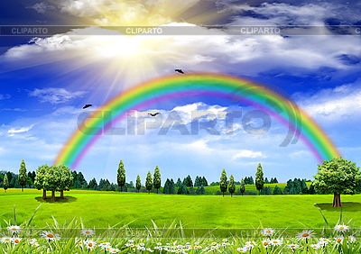 Grünes Gras, Regenbogen und blauer Himmel | Foto mit hoher Auflösung |ID 3112583