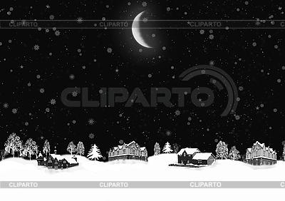 Nocny krajobraz zimowy | Stockowa ilustracja wysokiej rozdzielczości |ID 3112631