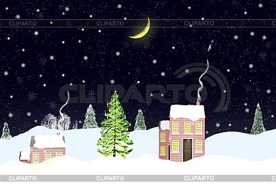 Weihnachts-Landschaft in der Nacht | Illustration mit hoher Auflösung |ID 3116459