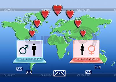 Internet Liebes-Konzept | Illustration mit hoher Auflösung |ID 3117421