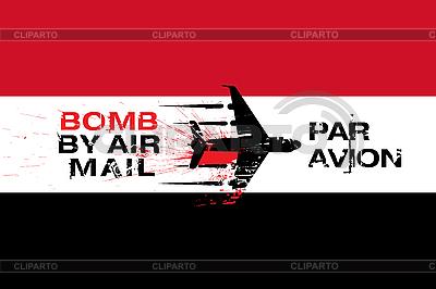 Flagge von Jemen und Bomb per Luftpost | Illustration mit hoher Auflösung |ID 3113342