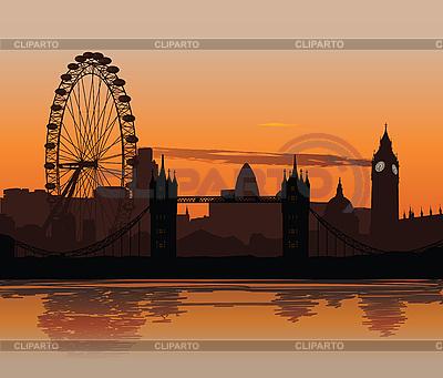 Londyn o zachodzie słońca | Stockowa ilustracja wysokiej rozdzielczości |ID 3113913