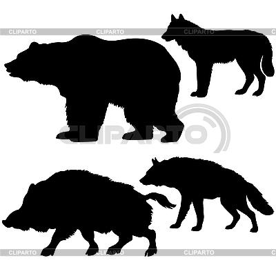 Silhouetten der Wildschweine, Bären, Wölfe, Hyänen | Stock Vektorgrafik |ID 3113313