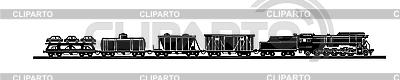 Sylwetka starego pociągu | Klipart wektorowy |ID 3202883