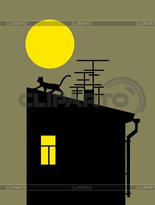 Силуэт кошки на крыше дома векторный