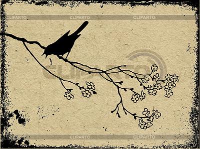 Grunge-Hintergrund mit Vogel | Stock Vektorgrafik |ID 3221484