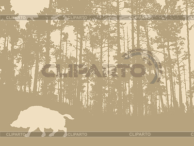 나무 배경에 야생 멧돼지 실루엣 | 벡터 클립 아트 |ID 3230639