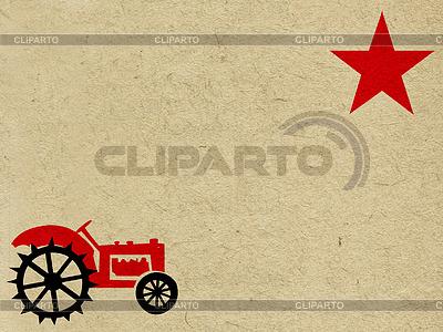 Grunge-Hintergrund mit Traktor und Stern | Illustration mit hoher Auflösung |ID 3250026