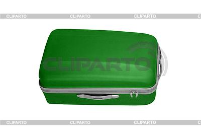 Зеленый чемодан изолированных на