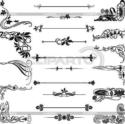 Rogi secesyjnym ornamentem i dzielenia | Klipart wektorowy |ID 3179218