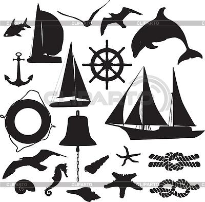 Satz von Silhouetten als Symbol für die Freizeitschifffahrt | Stock Vektorgrafik |ID 3267901